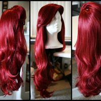 MERMAID/VIXEN WIG Red Wig with Thick Swoop Bangs by SirensGrotto