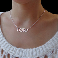 Infinity - Sterling Silver Double Infinity Necklace - Eternity Necklace, Simplicity, Forever Necklace, Love, Bridal Party, Sisters, Mom