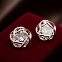 Rhinestone Heart Wrap In Flower Stud Earrings + Free Gift Random Necklace = 2Pcs +Gift Box