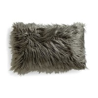 DESIGNER Faux Fur Oversized Grey Throw Pillow