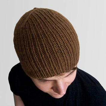 custom hand knit hat -- the torse beanie in cocoa, or your color of choice