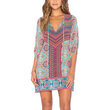 Hippie Ethnic Colorful Geometry Floral Baroque Print Tie Neck Bow Vintage Gypsy Women One Piece Half Sleeve Straight Shift Dress