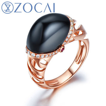 zocai  arrival ice and fire series black agate ring 0.17 ct real diamond and 0.03 ct real ruby ring 18k rose gold w80040t