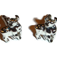 Bull Cuff Links Silver Steer Cufflinks MINT Brand New in Box Unused VanHeusen Designer Vintage Jewelry for Men Cowboy Groom Wedding Gift