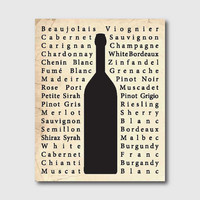 Room Decor - Wine Bottle Typography - Kitchen  Wall Art - 11 x 14 print - Your choice of background