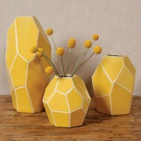 Faceted Yellow Vase - 3 Sizes Available