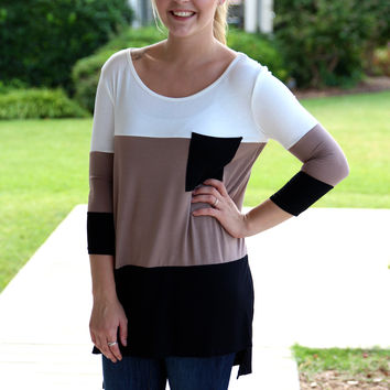 Pocket Full of Sunshine Tunic - Black and Mocha