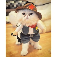 Funny Cat Costume Halloween Pet Cat Dog Clothes Creative Novelty Cat Kitten Clothes - Cowboy / Police / Nurse / Doctor - 4 Sizes