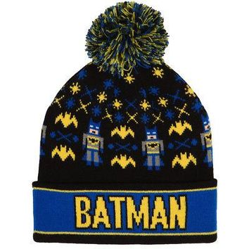 Batman Knit Cuff Pom DC Comics Licensed Adult Beanie Hat - Black/Blue/Yellow