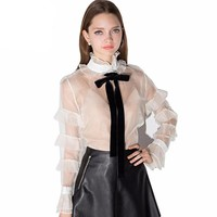 Sexy sheer Long sleeve Tie Bow Ruffles Party Blouses Shirts