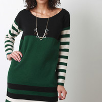Long Sleeved Sweater Colorblock Striped Shift Dress