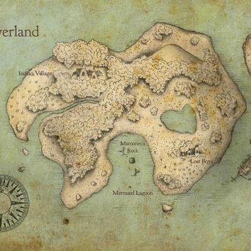 Peter Pan Neverland Map Print by imaginactory on Etsy