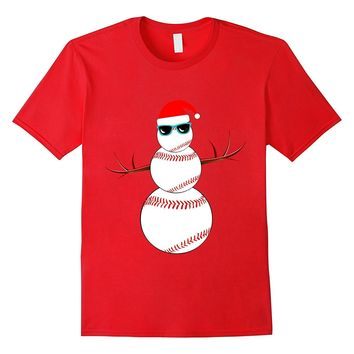 Christmas Baseball Snowman Santa T-Shirt Funny Softball Tee
