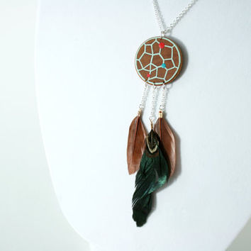 Hand-Painted Wooden Dreamcatcher Necklace in Mint