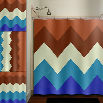 blue chocolate cake brown chevron shower curtain bathroom decor fabric kids bath white black custom duvet cover rug mat window