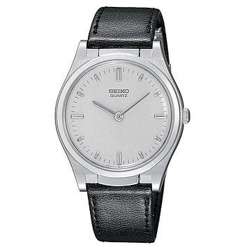Seiko Mens Braille Watch - Stainless Steel - Black Leather Strap