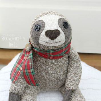 Sock Monkey Sloth Doll, Plush - Classic Christmas Plaid
