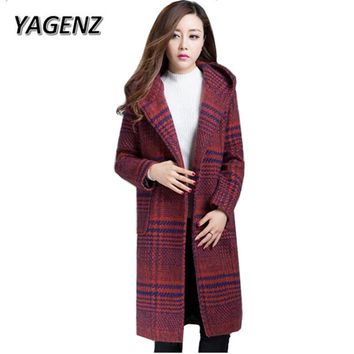 YAGENZ 2017 Autumn Winter Woollen Hooded Jacket Women Clothing Slim Thicken Plaid Cotton Long Overcoat Warm Female Wooll Coat