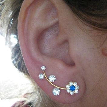 Flower Ear Sweep Wrap - Cuff Earring Ear Climber with Swarovsky - Gold filled - BLUE