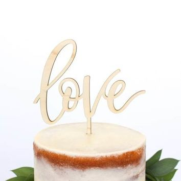 LOVE MAPLE WOOD CAKE TOPPER
