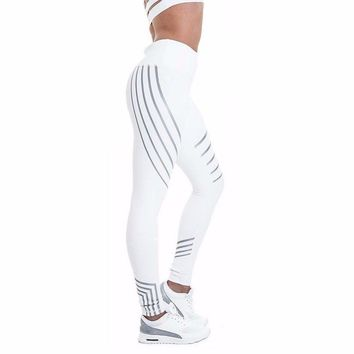 Grey & White Slim Fitted Geometric Spandex Leggings Yoga Pants
