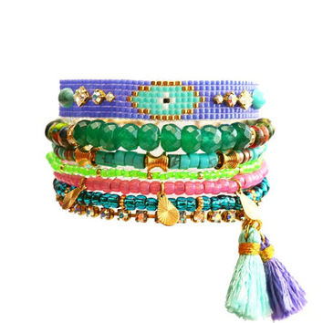 SS14 Evil Eye Ethnic Swarovski Bracelet,Beadwork,Neon,Silk Tassel Charm,Gemstone,Bohemian Indian Boho Chic Multiple rows Friendship Bracelet