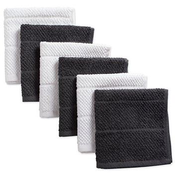 "DII 100% Cotton Ultra-Absorbent Cleaning Drying Luxury Chef Terry Dish Cloths 12""x12"" 6 pcs"