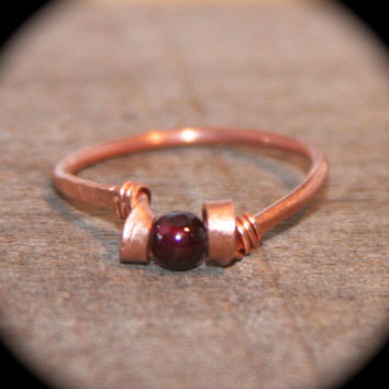 Garnet Ring, Pick Copper or Solid Sterling Silver Ring, Handmade Ring, Wire Wrapped Gemstone Ring, Leaf Ring, Toe Ring, Midi Ring