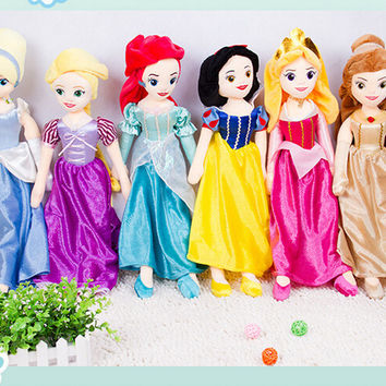 High Quality 67cm Soft Plush Stuffed Princess Rapunzel Snow White Ariel Aurora Belle