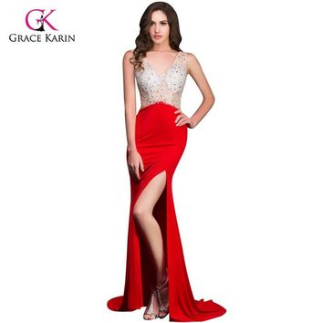 2017 Grace Karin Women hot Long Red Mermaid Prom Dresses under 50 Open Back rhinestone Sexy Slit Evening Party Dresses 8914