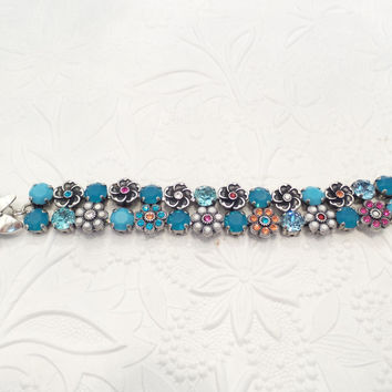 SWAROVSKI CRYSTAL BRACELET, double row, flower embellished, turqouise, designer inspired, fashion forward, chunky