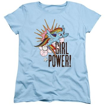 My Little Pony Womens T-Shirt Girl Power Light Blue Tee