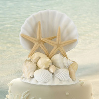 Seashell Beach Wedding Cake Topper