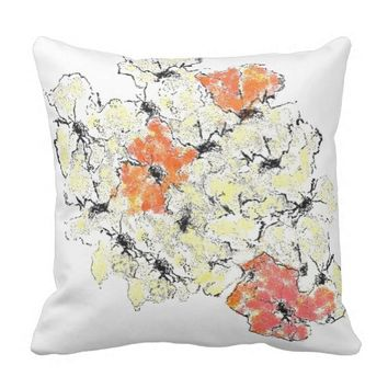 Summer into Fall Wildflowers Throw Pillow
