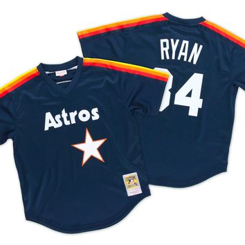 Mitchell & Ness Nolan Ryan 1988 Authentic Mesh BP Jersey Houston Astros In Dark Navy