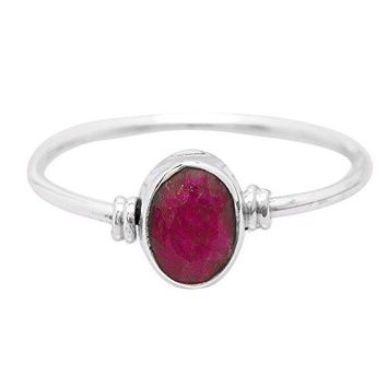 Created Ruby Oval Stone Delicate Ring 925 Sterling Silver Vintage Tribal Gipsy Boho Look