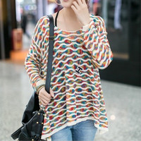 COLOR STRIPES HOLLOW LOW ROUND NECK SWEATER