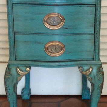 Blue French Nightstand/Side Table Vintage 1930s
