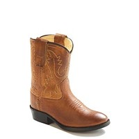 Old West Toddler's Western Tan Leather Cowboy Boots