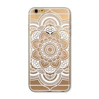 Simple transparent mandala mobile phone case for iphone 5 5s SE 6 6s 6 plus 6s plus + Nice gift box 072701