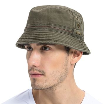 VOBOOM Summer Army Green Bucket Hat Men Plain Solid Wide Brim Twill Cotton Boonie Giggle Hats Eyelets Sun Cap 102