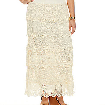 Chelsea & Theodore Plus Tiered Crochet Lace Maxi Skirt - Ivory