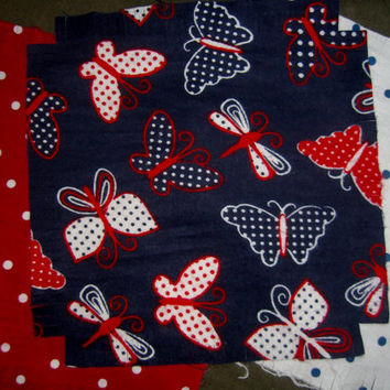 """Butterfly Flannel rag quilt kit dots butterflies fringed die cut fabric squares batting complete ready to sew 45.5""""x58.5  great gift idea"""
