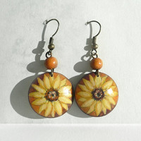 Sunflower Earrings Handmade Earrings, Handcrafted Wood Earring Hand Painted Earrings, Dangle Earrings Painted with Watercolor, Acrylic Paint