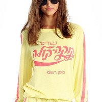 Wildfox Couture Hindi Cola Baggy Beach Jumper in Acid Yellow