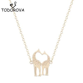 Todorova Cute Double Giraffe Love Pendant Necklaces for Women Lovers Romantic Jewelry Vanlentine Day Gifts