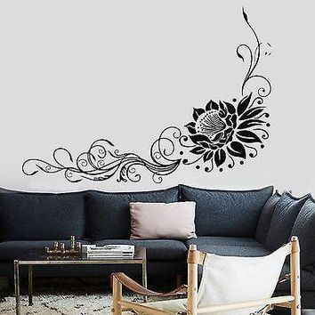 Wall Sticker Lotus Floral Flower Om Relaxation Yoga Zen Vinyl Decal Unique Gift (z2950)