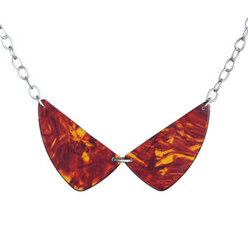 Guitar pick beetle-wing necklace