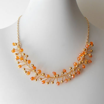 Wedding Jewelry Maid of Honor Necklace Bridesmaid Jewelry Orange Crystal Wire Twisted Necklace in Gold Tangerine Bridesmaid Gift