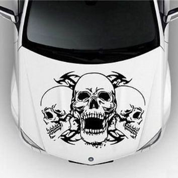 Skull Three Angry Skulls Car Hood Vinyl Sticker Decal a041
